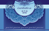 Invitation in blue. Vector background for the cover of the openwork — Stock Vector
