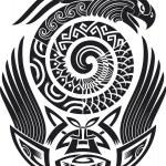 Snake-bird tattoo design — Stock Vector