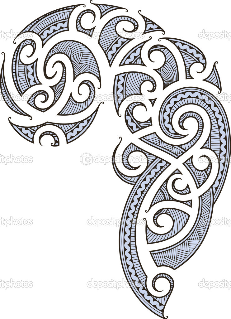 Maori style tattoo designed for a man's body (shoulder and chest) —