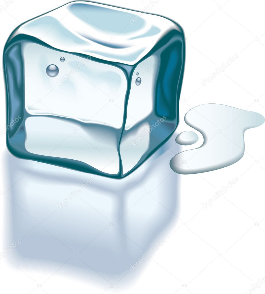 Ice cube is melting on a glass surface. Vector illustration. — Stock Vector #8973201