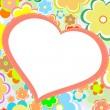 Beautiful bright flower heart. vector card — Stock Vector