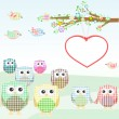 Royalty-Free Stock Vektorfiler: Owls and birds on tree branches. nature element