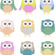 Vector of colorful owls isolated on white — Stock Vector #10074412