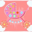 Card for baby. vector perambulator for girl — Vector de stock