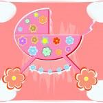 赤ちゃんのためのカード。女の子のためのベクトル乳母車 — ストックベクタ