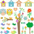 Set birds with birdhouses, owls, trees and flowers - Stock Vector