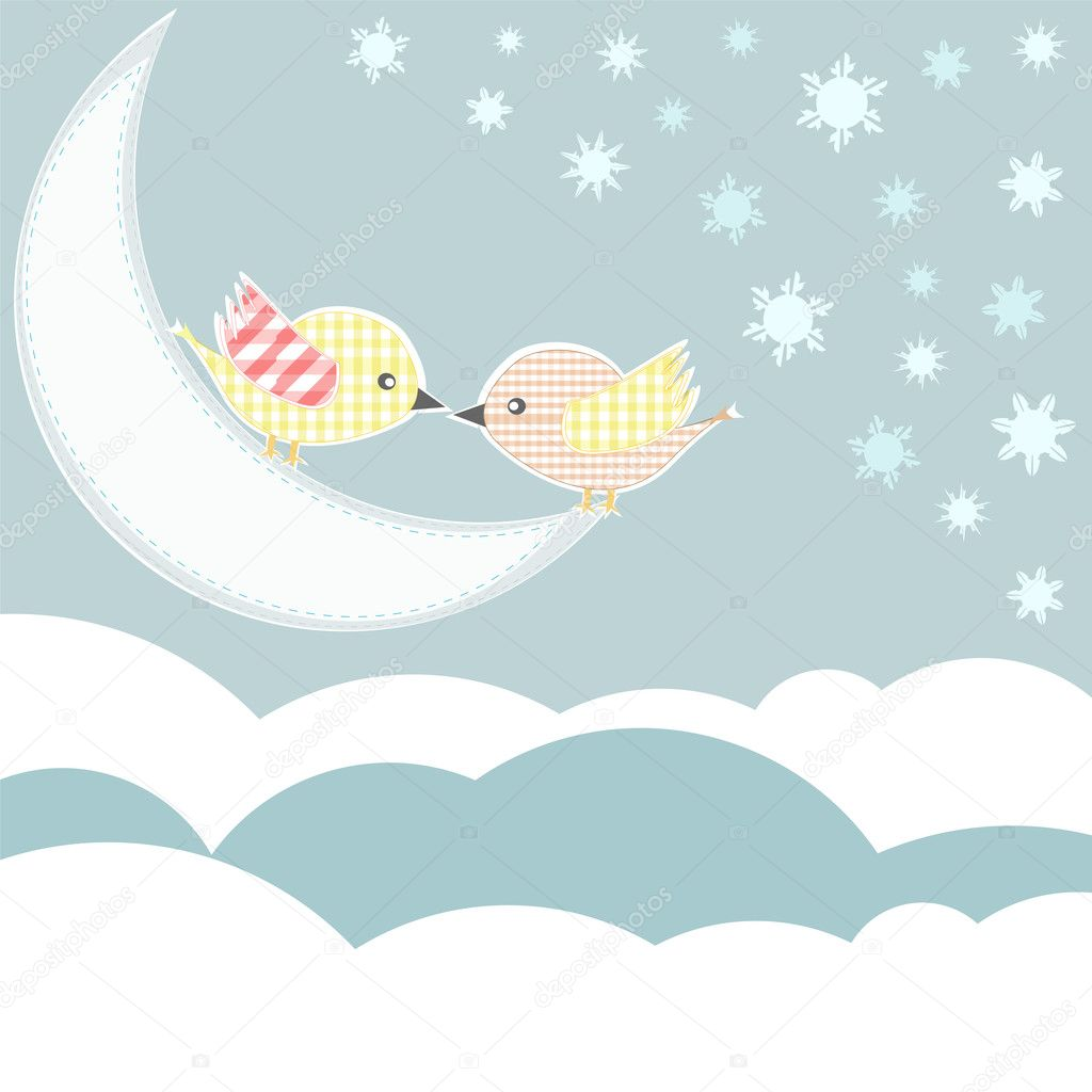 Bird with love kiss in sky clouds. vector  Stock Vector #10072886