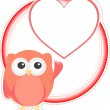 Valentine owl girl with heart. holiday vector card — Imagens vectoriais em stock