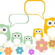 Owl family with flowers and speech bubbles — Stock Vector