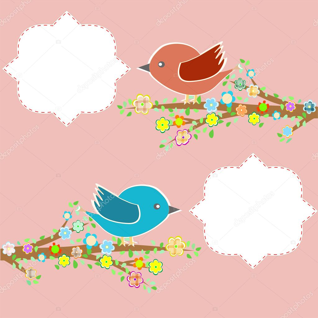 Two birds in the trees with speech bubbles on floral tree branch — Grafika wektorowa #10188169