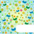 Seamless pattern with flowers and birds. Floral background — Stock Vector #10190722