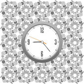 Classic clock on the abstract wall background — Stock Vector