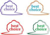 Speech bubbles set with best choice message — Stock Vector