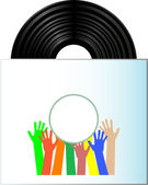 Vinyl record disk in box on white background — Stockvektor