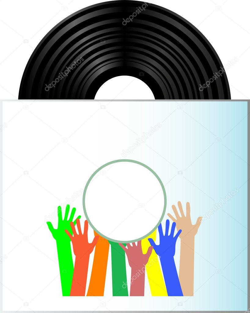 Vinyl record disk in box on white background with many hands — Stock Vector #10196385