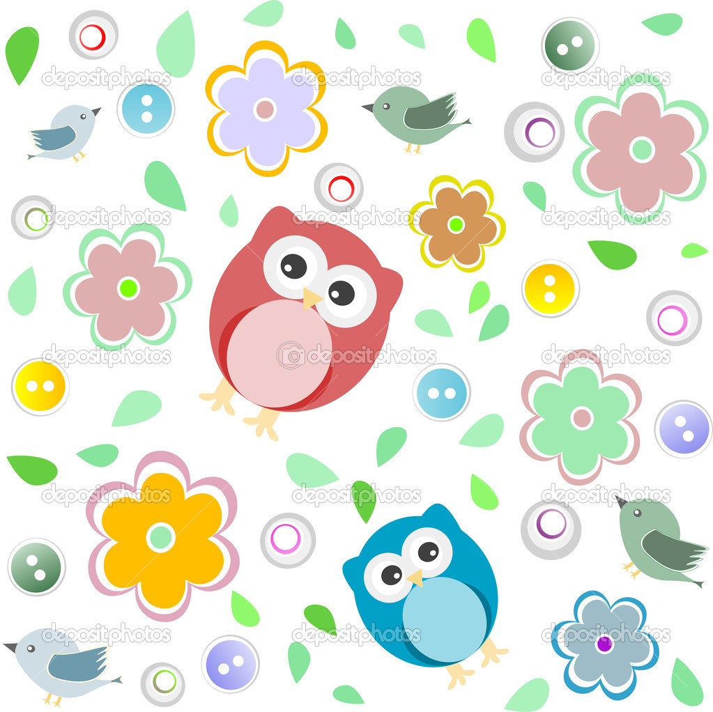 Seamless colourful owl pattern for kids vector background  Stock Vector #10196394