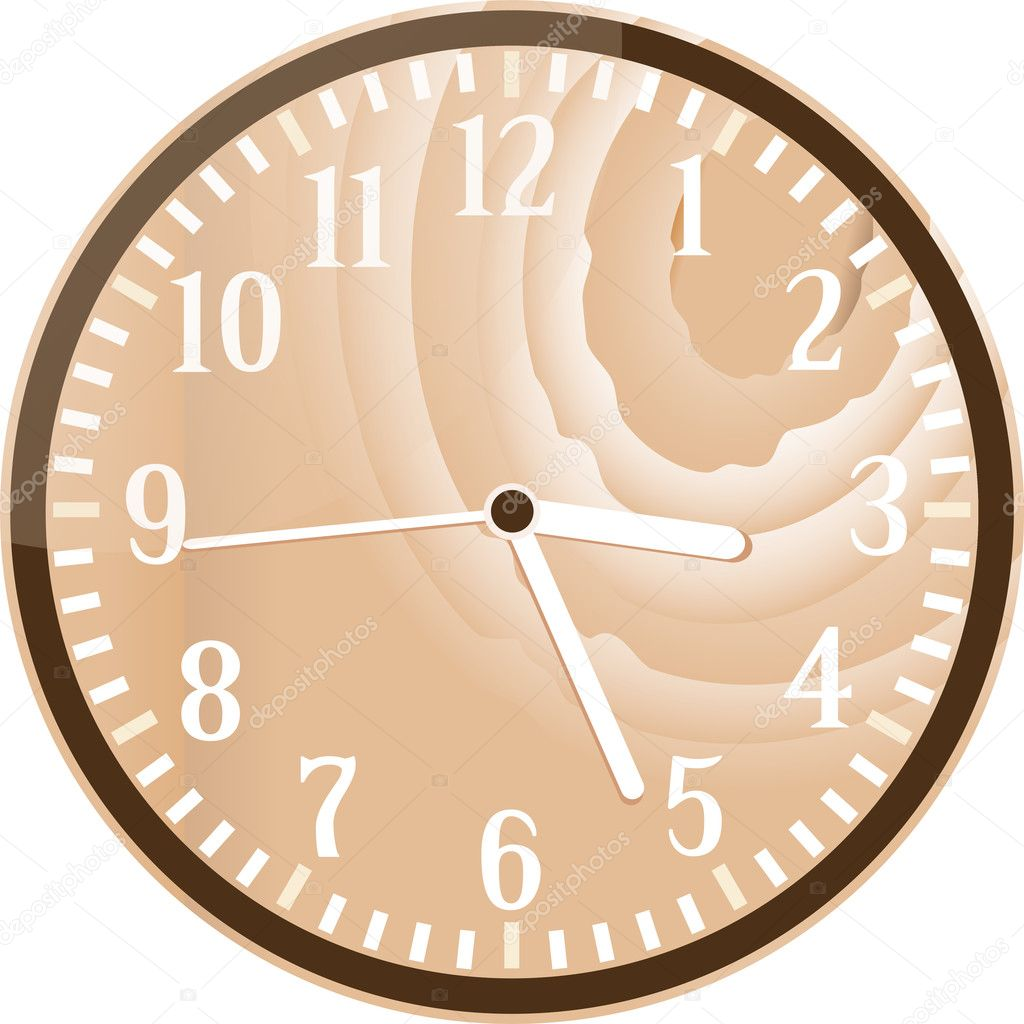 Wall retro wood clock isolated on white  Stock Vector #10196423