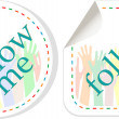 Follow me stickers label set — Stock Vector #10343769