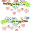 Cards with couples of birds sitting on branches with hanging hearts - Stock Vector