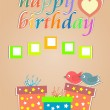 Royalty-Free Stock Vector Image: Vector happy birthday cards with cute birds and gift box