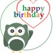 Vector happy birthday party card with cute owl — Stock Vector