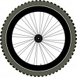 Bike wheel with tire and spokes isolated on white — Stock Vector