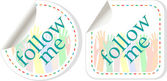 Follow me stickers label set — Stock Vector