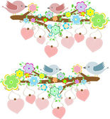 Cards with couples of birds sitting on branches with hanging hearts — Vector de stock