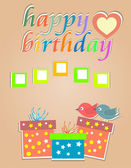 Vector happy birthday cards with cute birds and gift box — 图库矢量图片