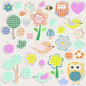 Set of nature textile stickers - scrapbook label — Stock Vector