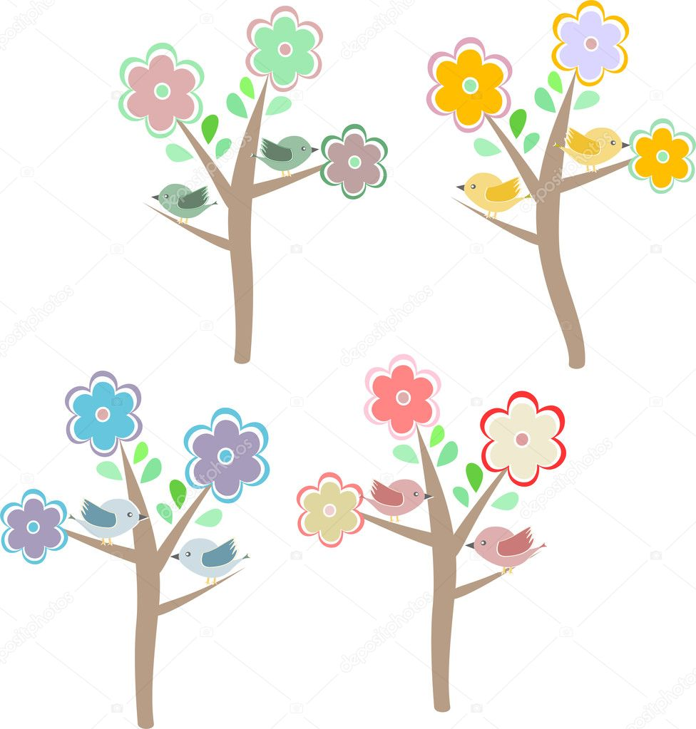 Birds sitting on trees. Four seasons - spring, summer, autumn, winter — Stock Vector #10348298