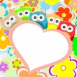 Owls, flowers and valentines heart in frame. vector - Vektorgrafik
