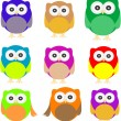 Set of Owls isolated on white — Stock Vector #10557959