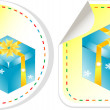 Stock Vector: Blue gift box with yellow bow sticker set