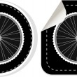 Vector white bike wheel sticker set — Stock Vector