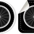 Vector white bike wheel sticker set — Stock Vector #10558810