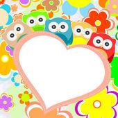 Gufi, fiori e san valentino cuore nel telaio. vector — Vettoriale Stock