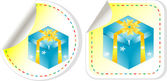 Blue gift box with a yellow bow sticker set — Stock Vector