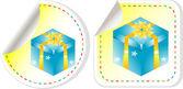 Blå presentask med en gul rosett klistermärke som — Stockvektor