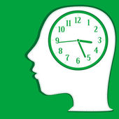 Man silhouette thinking about time. background vector — 图库矢量图片