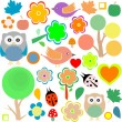 Set birds and owls, trees and flowers vector background — Stockvectorbeeld