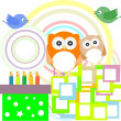 Vector birthday party card with cute owl — Stock Vector