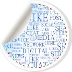 Social media button - label sticker — Stock Vector