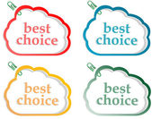 Abstract speech bubbles stickers set with best choice message — Stock Vector