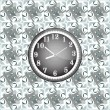Modern wall clock on the grunge background — Imagen vectorial