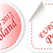 Poland euro 2012 in flag colors sticker set — Image vectorielle
