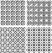 Monochrome geometric seamless patterns set. Vector backgrounds — Vector de stock
