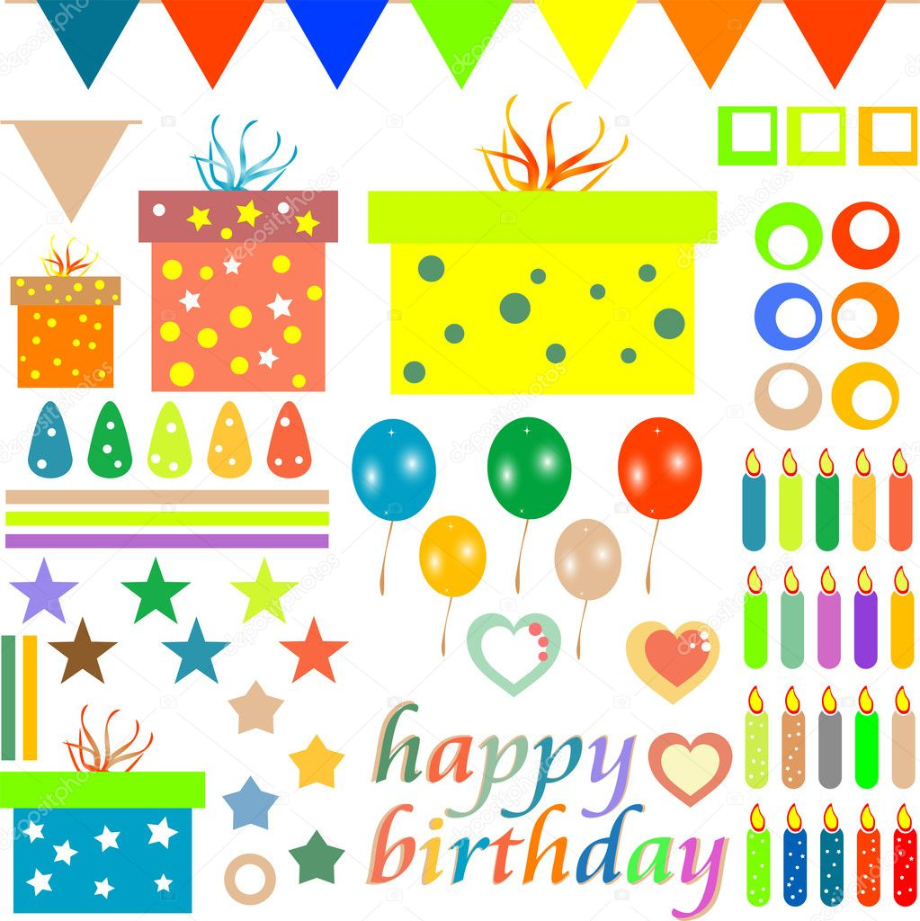 Happy birthday design elements for baby scrapbook isolated on white — Stock Vector #10667412