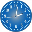 Vector wall blue detailed clock isolated on white — 图库矢量图片