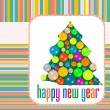 Christmas balls on tree Eve. New Year vector abstract background — Stock Vector #7963723